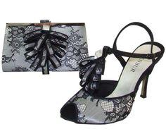 lace black evening shoes