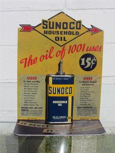 Vintage NOS FULL 4 oz. SUNOCO Household/Handy OIL CAN DISPLAY