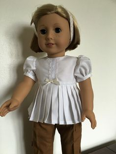 White pleated blouse fits American girl dolls by Bekysdollclothes on Etsy