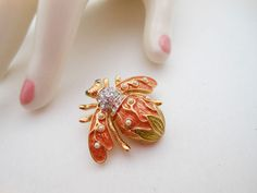 Vintage JOAN RIVERS Bee pin Lily of the Valley Tangerine Orange Pearl Crystal #JoanRivers