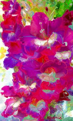 Gladiolas bouquet red purple white pink Vivid by ArtByJeaniecom, $189.00