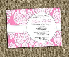 PRINTABLE INVITATIONS Pink Damask Shower Invitation - Custom Printable - Memorable Moments Studio. $13.00, via Etsy.