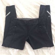Lululemon 7/8 Capri Black, hit just above ankle and are tight all the way down! Have cute pockets on front and a reflective strip on each leg! Luxtreme Run The World size 6! Better for someone who is a true 6 or 4-6 range. Pilling in crotch but no holes. Other than that, great used condition! Bundle to save!  lululemon athletica Pants