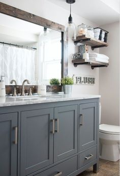 Home Decor Ideas Ikea This Industrial Farmhouse Bathroom is the perfect blend of styles and creates such a cozy atmosphere!Home Decor Ideas Ikea This Industrial Farmhouse Bathroom is the perfect blend of styles and creates such a cozy atmosphere! Bad Inspiration, Bathroom Inspiration, Bathroom Inspo, Mirror Inspiration, Bathroom Styling, Apartment Decoration, Decoration Crafts, Decorations, Interior Design Minimalist