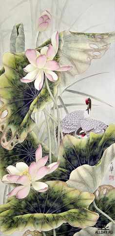 Lou Dahua Chinese Artist~Cranes and lotus. This would fit in with my decor. Japanese Painting, Chinese Painting, Japanese Art, Art And Illustration, Art Et Nature, Art Chinois, Art Asiatique, Art Japonais, China Art