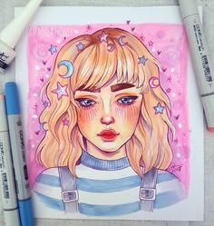Drawing Ideas Markers Girl 24 Ideas For 2019 Copic Drawings, Cool Art Drawings, Art Drawings Sketches, Drawing Ideas, Pretty Art, Cute Art, Arte Sketchbook, Aesthetic Art, Cartoon Art