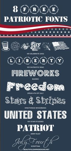 This font roundup features a collection of free patriotic fonts. These fonts are perfect for the Fourth of July. Download links are provided for each font.