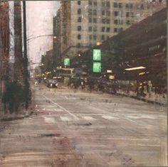 Selfpark Chicago, 2013, oil on board, cm 35x35  - Alejandro Quincoces