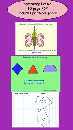 Symmetry Lesson (PDF) 10 pages, includes printable worksheets in black and white. Symmetry Worksheets, Subject And Predicate Worksheets, Worksheets For Kids, Printable Worksheets, Free Printable, Printables, Math Activities, Teacher Resources, Teaching Ideas