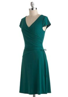 Teal It With a Kiss Dress, #ModCloth. Swoop front with cap sleeves. Would have to try it on.