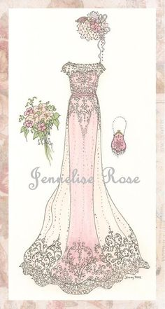 Wedding Gown Trio of Art Prints by Jenneliserose on Etsy