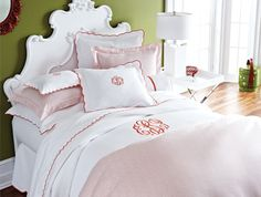 Spectacular bedding; pique scalloped coverlet by Peacock Alley.