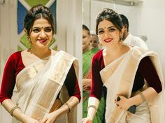 Looking for saree makeup ideas? Here are our tips of 14 simple and effortless makeup looks that can make you look gorgeous. Onam Saree, Kasavu Saree, Bengali Saree, Saree Dress, Sari, Kerla Saree, Lehenga, Kerala Saree Blouse Designs, Saree Hairstyles