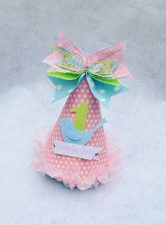 Little Bird Birthday Party Hat in Pale Pink by LittlePinkTractor, $15.50