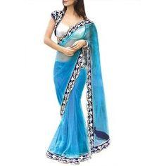 28% discount on Neha Dalvi Style Sky Blue Saree at junglee.com