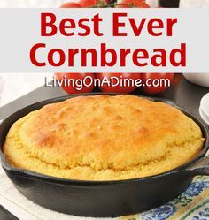 Best Ever Easy Cornbread Recipe Delicious Cornbread! is part of Corn bread Easy - This Best Ever Easy Cornbread Recipe is so delicious, sweet and moist you can eat it with nothing on it! Serve with stews, chili, soups and more! Easy Cornbread Recipe, Buttermilk Cornbread, Homemade Buttermilk, Gluten Free Cornbread, Homemade Cornbread, Cornbread Recipe With Canned Corn, Homemade Breads, Cornbread Recipe Without Baking Powder, Gastronomia