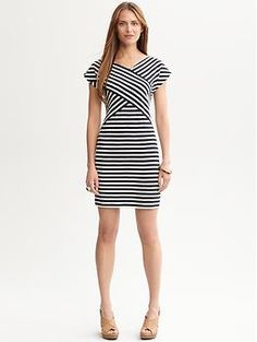 Contrast-stripe knit dress | Banana Republic  If only this were longer.. I don't like short dresses..