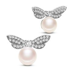 SWEETIEE&reg Beautiful 925 Sterling Silver Dragonfly  Ear Studs, with Micro Pave AAA Cubic Zirconia and Shell Pearl, PlatinumPSize: about 16mm wide, 11mm long, pearl: 7mm in diameter; packing size: 53x53x37mm.