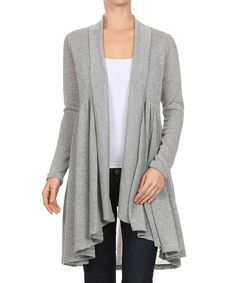 Look at this Silver Metallic Drape Open Cardigan on #zulily today!