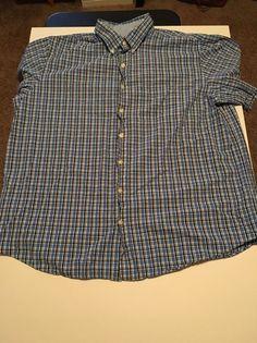 IZOD Men Size 2XLT Tall Short Sleeve Button Up Shirt Blue Plaid EUC #IZOD #ButtonFront #Plaid #ShortSleeve #Tall #2XLT