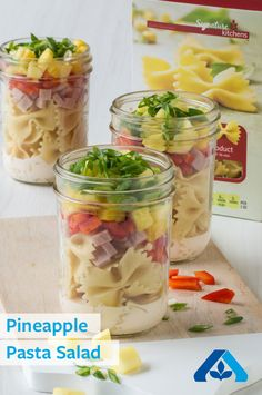 Pineapple Pasta Salad—Make weekday lunches easier and transportable with this mason jar salad! Featuring Signature Kitchens™ Farfalle Past, Signature Farms™ fresh cut pineapple, ham and Greek yogurt, this easy protein-packed salad will fuel your day.