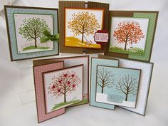Isn't this a gorgeous stamp set? We really enjoyed doing these cards that I came up with for the Sheltering Tree Stamp Class. Don't you just love Square CARDS? All the bases are Soft Suede cardstock,