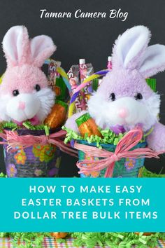 These Easter Baskets are easy and affordable! Head to Dollar Tree to stock up on bulk items, like plastic cups, pipe cleaners, stickers, stuffies, and candy #DollarTree #ad