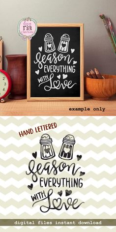 Season everything with love, kitchen decor cooking baking quote salt & pepper digital cut files SVG DXF studio3 for cricut, silhouette cameo by LoveRiaCharlotte on Etsy