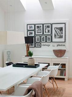 Espacio de comedor en blanco y madera con la sillas DAW - via @Macarena Ruiz Mackay gea