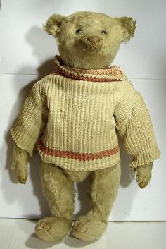 "Antique 12"" Steiff Teddy Bear. In a Tan Sweater. He has such a darling face... may have been originally white."
