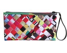 This large size wristlet is made using advertising billboard. Cut into strips and woven tightly.  It has a YKK zip top closure and a wrist strap made of vinyl. Polyester fabric is used for lining. This wristlet has no inner pockets  Dimensions in inches: 9.7 long, 5.5 high, 1 thick (When stuffed can reach 2.5 thickness) Dimensions in centimeters: 26 cm long, 13.5 cm high, 3 cm thick (When stuffed can reach 6.5 cm)  Weight: 5 ounce (150 grams)…