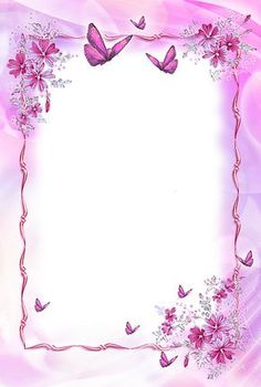 Pink Transparent Frame with Butterflies Boarder Designs, Page Borders Design, Borders For Paper, Borders And Frames, Printable Frames, Art Carte, School Frame, Framed Wallpaper, Paper Frames