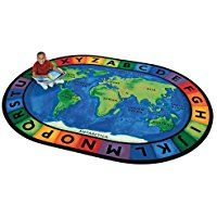 """Printed Circletime Around the World Kids Rug Size: Oval 6'9"""" x 9'5"""""""