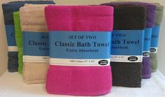 """2 pack 27x52"""" terry bath towel Case of 18"""