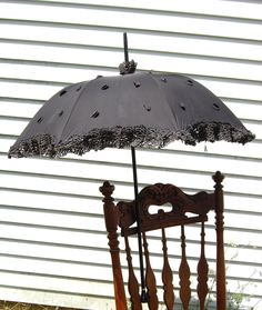 Vintage Black Embellished Steampunk Goth Parasol Umbrella