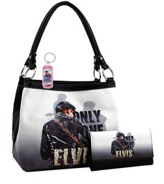 Elvis Presley Medium Purse Wallet Set, ONLY ONE, Plus Keychin, EV5213-SET (Black 1). Elvis Presley medium two way purse and wallet set. Plus Elvis key chain. Faux leather, Top zip closure. Officially licensed. More details in the description.
