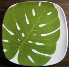 Decorative Dishes - Green Philodendron Leaf on White Square Plate Tile M, $19.99 (http://www.decorativedishes.net/green-philodendron-leaf-on-white-square-plate-tile-m/)