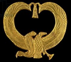 gold amulet from Psusennes I's mummy. Description: The two ladies amulet combines two important deities, the vulture goddess Nekhbet and the cobra goddess Wadjet the titulary deities of Upper and Lower Egypt who signified the union of the land cairo egyptian museum-gold amulet from