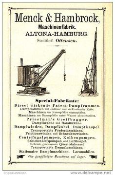 Original-Werbung/Inserat/ Anzeige 1891 - MENCK & HAMBROCK MASCHINENFABRIK ALTONA-HAMBURG-OTTENSEN- ca. 170 x 100 mm