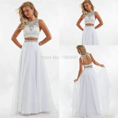white prom dresses 2 piece - Google Search