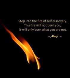Step into the fire of self-discovery. This fire will not burn you, it will only burn what you are not. - Mooji