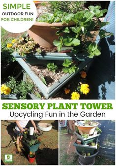 Make gardening with children an active learning (and fun!) experience with this easy sensory plant tower project. Incorporates recycled materials, nature, sensory play, teamwork and so many more learning outcomes! Easy to plan and set up outdoor activity for homeschool, early childhood educators, teachers, schools, daycare and anyone with no space for a big garden! Follow the easy steps here. #outdoorplay #earlylearning #familydaycare