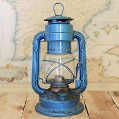 Antique Blue Railroad Train Lantern