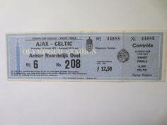 Ajax v Celtic 1971 European cup Match Ticket