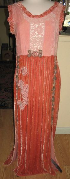 Elegant Vintage Silk Velvet Dress / Devore by WantToWearItOut
