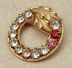 Vintage 14K Gold Filled Wreath Brooch CLEAR Rhinestones Pin Signed DCE c.1950s #ChristmasWreath #ChristmasGift $24.00