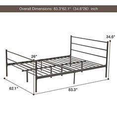 Full Size Black Metal Bed Frame Platform Headboards with 6 Legs for sale online Metal Bed Frame Queen, Black Metal Bed Frame, Metal Beds, Steel Furniture, Table Furniture, Pipe Bed, Large Computer Desk, Diy Cnc Router, Bed Design