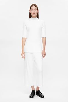 COS image 1 of Ribbed crop trousers in White