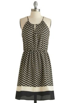 Catch the Wave Dress - Mid-length, Tan / Cream, Chevron, Casual, A-line, Spaghetti Straps, Scoop, Black, Cutout, Exclusives