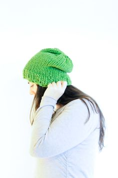 Knit Slouchy Hat / Winter Toque / Grass by daynightrose on Etsy